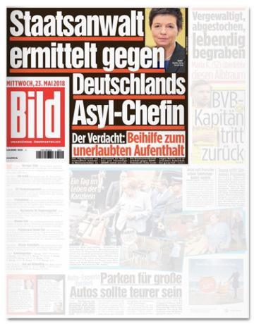 Ausriss Bild-Zeitung - Staatsanwaltschaft ermittelt gegen deutsche Asyl-Chefin