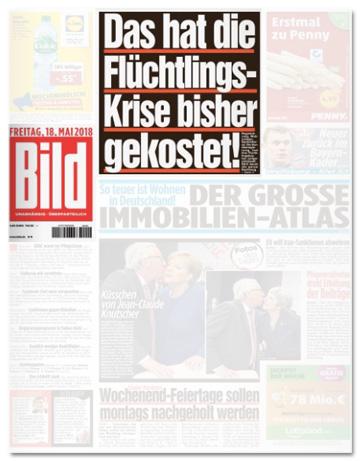 Ausriss Bild-Zeitung - Das hat die Flüchtlings-Krise bisher gekostet