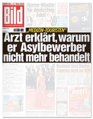 Ausriss Bild-Zeitung - Arzt erklärt, warum er Asylbewerber nicht mehr behandelt
