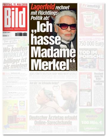 Ausriss Bild-Zeitung - Lagerfeld rechnet mit Flüchtlings-Politik ab! Ich hasse Madame Merkel