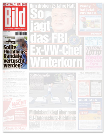 Ausriss Bild-Zeitung - Sollte Flüchtlings-Randale vertuscht werden?