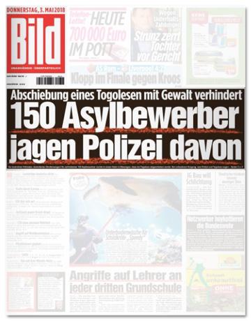 Ausriss Bild-Zeitung - 150 Asylbewerber jagen Polizei davon