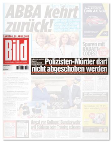Ausriss Bild-Zeitung - Polizisten-Mörder darf nicht abgeschoben werden