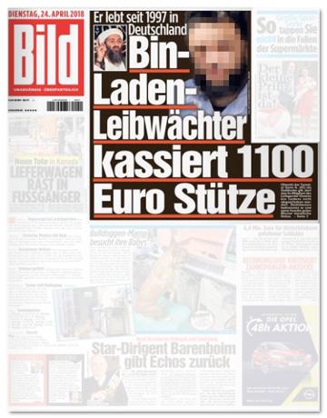 Ausriss Bild-Zeitung - Bin-Laden-Leibwächter kassiert 1100 Euro Stütze