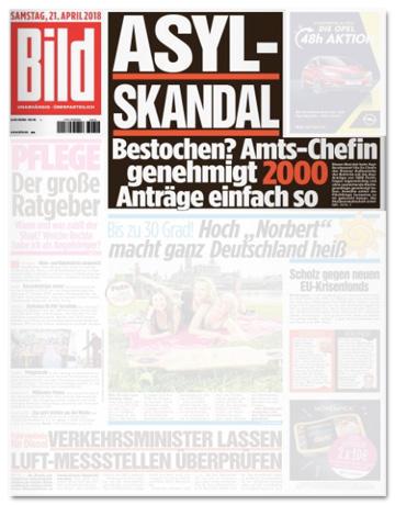 Ausriss Bild-Zeitung - Asyl-Skandal - Bestochen? Amts-Chefin genehmigt 2000 Anträge einfach so