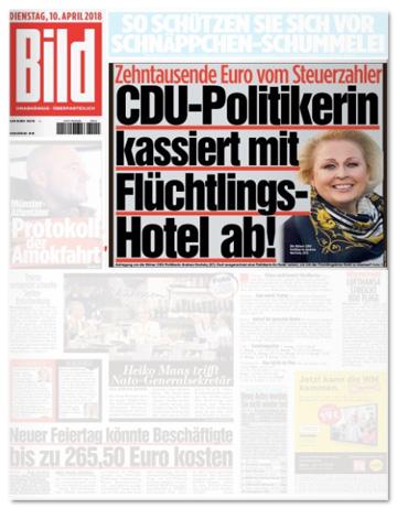 Ausriss Bild-Zeitung - CDU-Politikerin kassiert mit Flüchtlings-Hotel ab