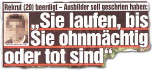 """Rekrut (20) beerdigt -- Ausbilder soll geschrien haben:"