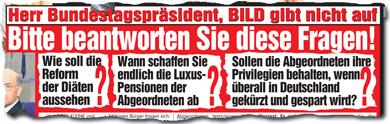 Herr Bundestagspräsident, bitte beantworten Sie diese Fragen, Herr Bundestagspräsident!