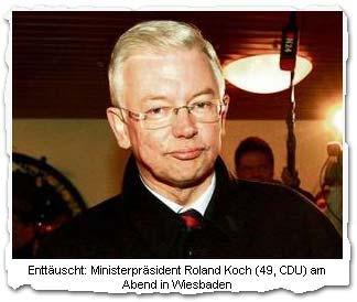 """""""Enttäuscht: Ministerpräsident Roland Koch (49, CDU) am Abend in Wiesbaden"""""""