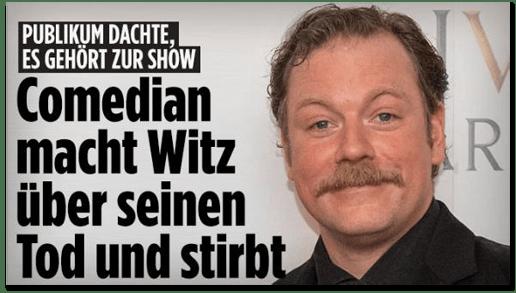 Screenshot Bild.de - Publikum dachte, es gehört zur Show - Comedian macht Witz über seinen Tod und stirbt