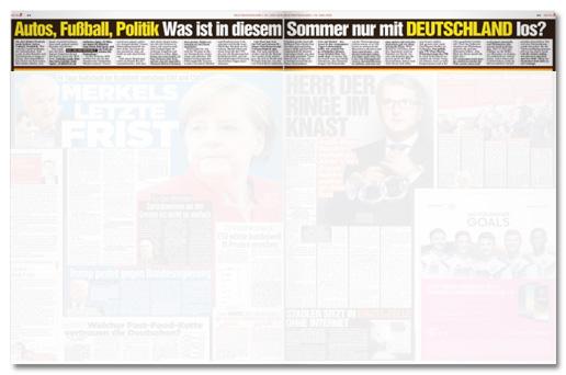 Ausriss Bild-Zeitung - Autos, Fußball, Politik - Was ist in diesem Sommer nur mit Deutschland los?