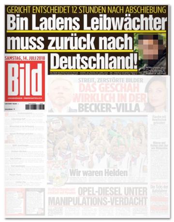 Ausriss Bild-Zeitung - Gericht entscheidet zwölf Stunden nach Abschiebung - Bin Ladens Leibwächter muss zurück nach Deutschland!