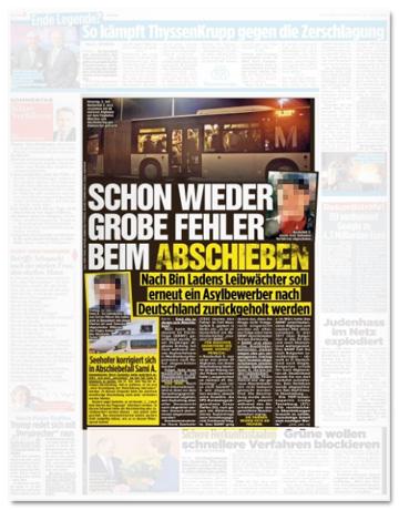 Ausriss Bild-Zeitung - Schon wieder grobe Fehler beim Abschieben - Nach Bin Ladens Leibwächter soll erneut ein Asylbewerber nach Deutschland zurückgeholt werden