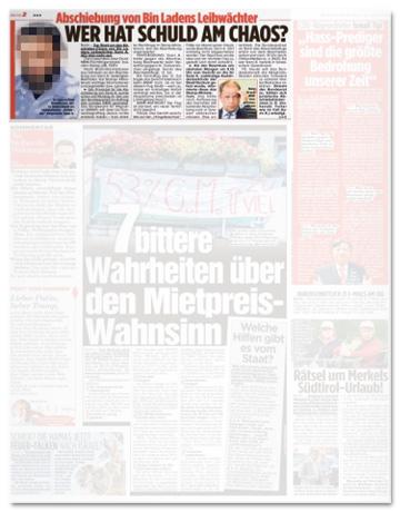 Ausriss Bild-Zeitung - Abschiebung von Bin Ladens Leibwächter - Wer hat Schuld am Chaos?
