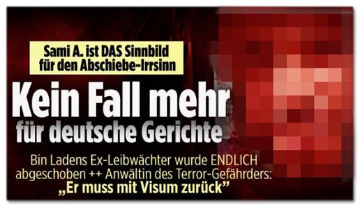 Screenshot Bild.de - Sami A. ist das Sinnbild für den Abschiebe-Irrsinn - Kein Fall mehr für deutsche Gerichte - Bin Ladens Ex-Leibwächter wurde endlich abgeschoben - Anwältin des Terror-Gefährders: Er muss mit Visum zurück