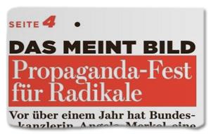 Ausriss Bild-Zeitung - Das meint Bild - Propaganda-Fest für Radikale