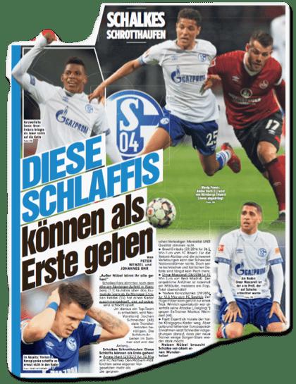 Ausriss Bild-Zeitung - Schalkes Schrotthaufen - Diese Schlaffis können als Erste gehen