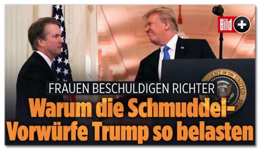 Screenshot Bild.de - Frauen beschuldigen Richter - Warum die Schmuddel-Vorwürfe Trump so belasten