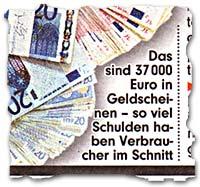 Das sind 37 000 Euro in Geldscheinen -- so viel Schulden haben Verbraucher im Schnitt