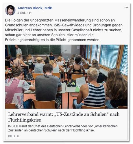 Screenshot eines Facebook-Posts von Andreas Bleck, der den Bild.de-Artikel teilt