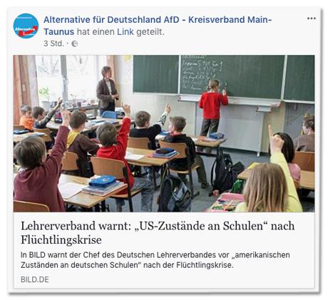 Screenshot eines Facebook-Posts des AfD-Kreisverbandes Main-Taunus, der den Bild.de-Artikel teilt