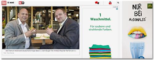 [Der Artikel bei Bild.de; daneben eine Anzeige von McDonald's]