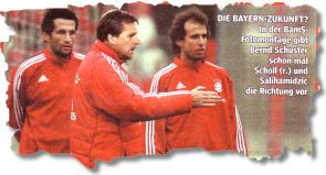 DIE BAYERN-ZUKUNFT? In der BamS-Fotomontage gibt Bernd Schuster schon mal Scholl (r.) und Salihamidzic die Richtung vor