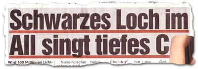 """""""Schwarzes Loch im All singt tiefes C"""""""