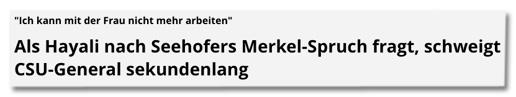 Screenshot Focus Online - Ich kann mit der Frau nicht mehr arbeiten - Als Hayali nach Seehofers Merkel-Spruch fragt, schweigt CSU-General sekundenlang