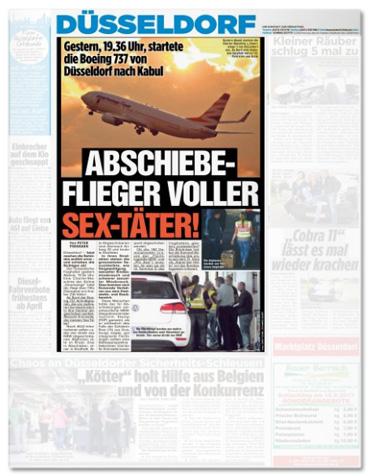Ausriss Titelseite Bild-Düsseldorf - Gestern, 19:36 Uhr, startete die Boeing 737 von Düsseldorf nach Kabul - Abschiebe-Flieger voller Sex-Täter!