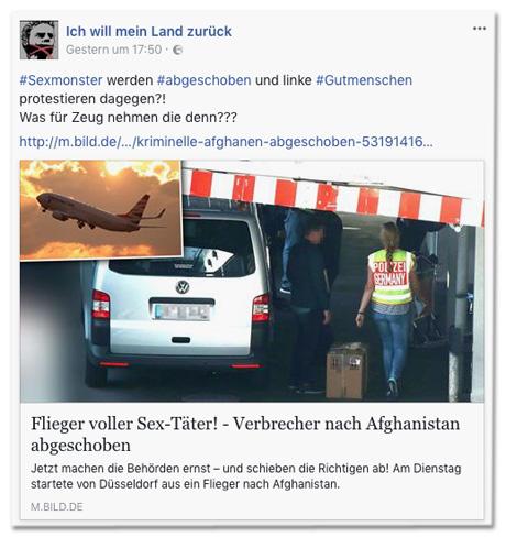 Screenshot Facebook-Seite Ich will mein Land zurück mit Bild.de-Post