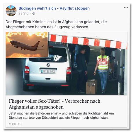 Screenshot Facebook-Seite Büdingen wehrt sich Asylflut stoppen mit Bild.de-Post