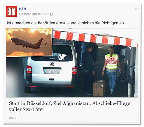 Screenshot Facebook-Seite von Bild.de mit Abschiebe-Flieger-Posting