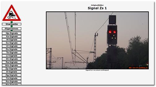Internetseite mit Fotos von verschiedenen Lichtsignalen, die an Bahnstrecken stehen
