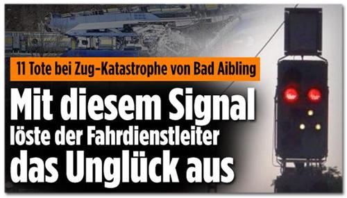 Artikel bei Bild.de: 11 Tote bei Zug-Katastrophe von Bad Aibling - Mit diesem Signal löste der Fahrdienstleiter das Unglück aus [dazu das Foto von der Internetseite]