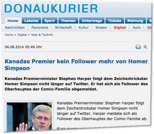 Kanadas Premier kein Follower mehr von Homer Simpson