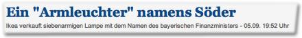 """Ein """"Armleuchter"""" namens Söder. Ikea verkauft siebenarmigen Lampe mit dem Namen des bayerischen Finanzministers."""