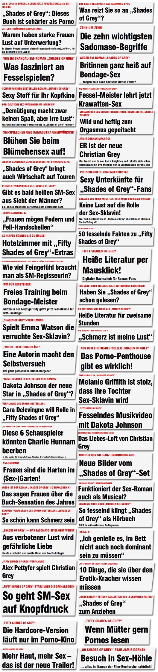 50 Schlagzeilen zu SM-Sex