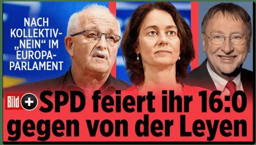 Screenshot Bild.de - Nach Kollektiv-Nein im Europa-Parlament - SPD feiert ihr 16:0 gegen von der Leyen