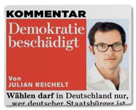 Ausriss Bild-Zeitung - Kommentar von Julian Reichelt - Demokratie beschädigt