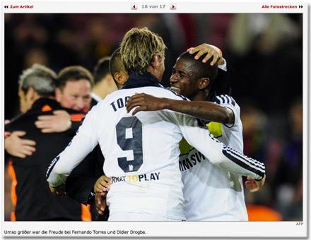 Umso größer war die Freude bei Fernando Torres und Didier Drogba.