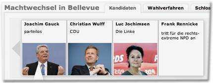 Kandidaten: Joachim Gauck (parteilos), Christian Wulff (CDU), Luc Jochimsen (Die Linke), Frank Rennicke (tritt für die rechtsextreme NPD an)