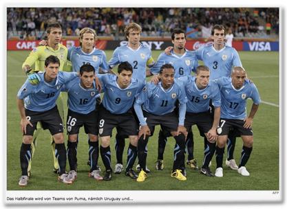 Das Halbfinale wird von Teams von Puma, nämlich Uruguay und...