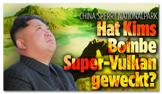 Screenshot Bild.de - China sperrt Nationalpark - Hat Kims Bombe Super-Vulkan geweckt?