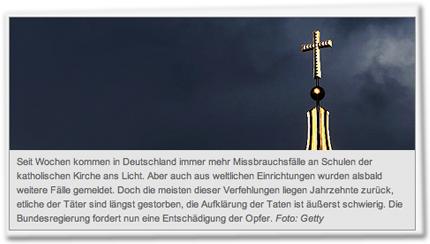 Seit Wochen kommen in Deutschland immer mehr Missbrauchsfälle an Schulen der katholischen Kirche ans Licht. Aber auch aus weltlichen Einrichtungen wurden alsbald weitere Fälle gemeldet. Doch die meisten dieser Verfehlungen liegen Jahrzehnte zurück, etliche der Täter sind längst gestorben, die Aufklärung der Taten ist äußerst schwierig. Die Bundesregierung fordert nun eine Entschädigung der Opfer. Foto: Getty