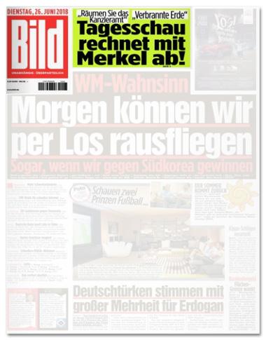 Ausriss Bild-Titelseite - Räumen Sie das Kanzleramt - Verbrannte Erde - Tagesschau rechnet mit Merkel ab!