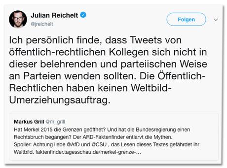 Screenshot Tweet von Julian Reichelt - Ich persönlich finde, dass Tweets von öffentlich-rechtlichen Kollegen sich nicht in dieser belehrenden und parteiischen Weise an Parteien wenden sollten. Die Öffentlich-Rechtlichen haben keinen Weltbild-Umerziehungsauftrag.