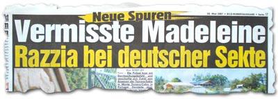 """""""Neue Spuren: Vermisste Madeleine -- Razzia bei deutscher Sekte"""""""