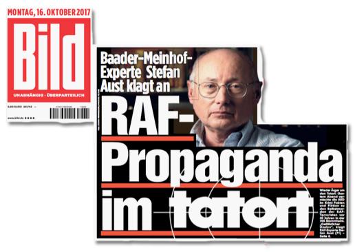 Ausriss Bild-Zeitung - Baader-Meinhof-Experte Stefan Aust klagt an - RAF-Propaganda im Tatort