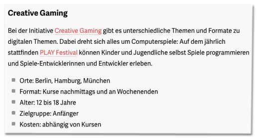 Screenshot t3n.de - Bei der Initiative Creative Gaming gibt es unterschiedliche Themen und Formate zu digitalen Themen. Dabei dreht sich alles um Computerspiele: Auf dem jährlich stattfinden PLAY Festival können Kinder und Jugendliche selbst Spiele programmieren und Spiele-Entwicklerinnen und Entwickler erleben.
